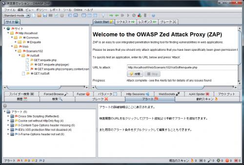 OWASP ZAPのアラート