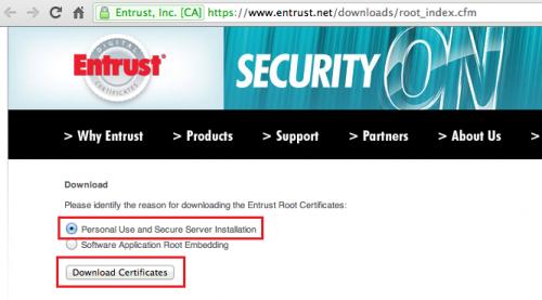 Entrust.net パーソナルを選択