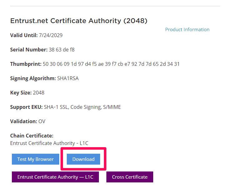 Entrust root certificate 2019
