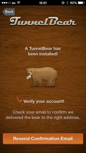 Tunnelbear メールアドレス確認