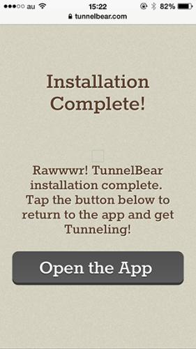 Tunnelbear インストール完了