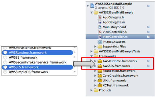 AWS SDK for iOSのXCodeプロジェクトへの追加