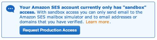 Amazon SES sandboxのインフォメーション