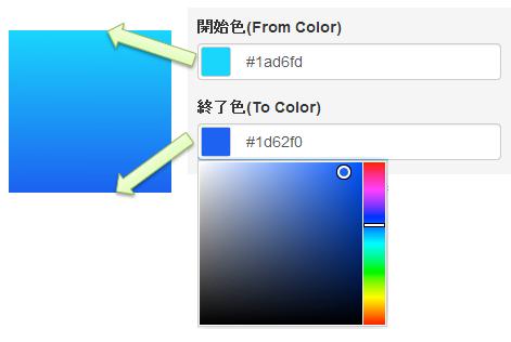 開始色・終了色の入力