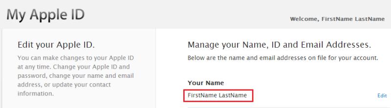 My AppleIDに登録されている名前