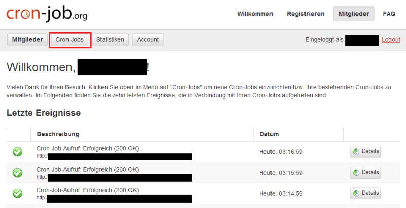 cron-job.org ジョブ結果