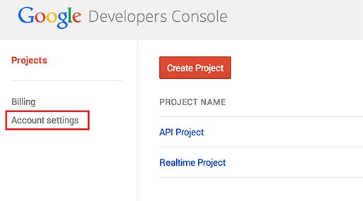 Google Developers Console アカウント設定