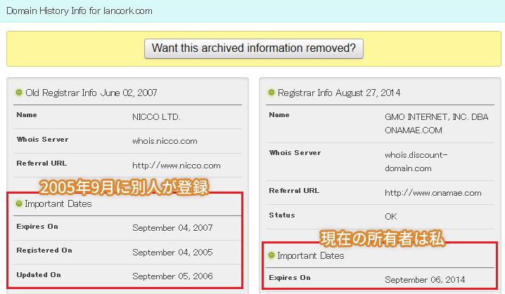 lancork.comのドメイン所有者履歴