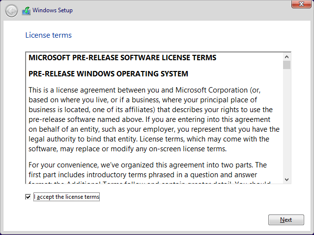 Windows 10 Preview 規約に同意