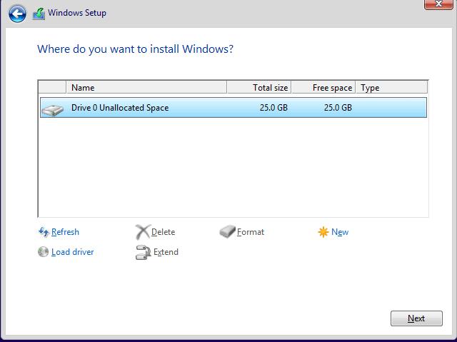 Windows 10 Preview インストールドライブ選択