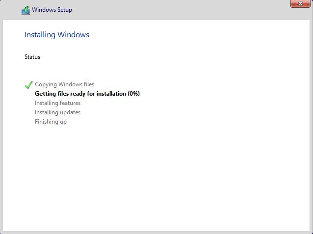 Windows 10 Preview インストール中