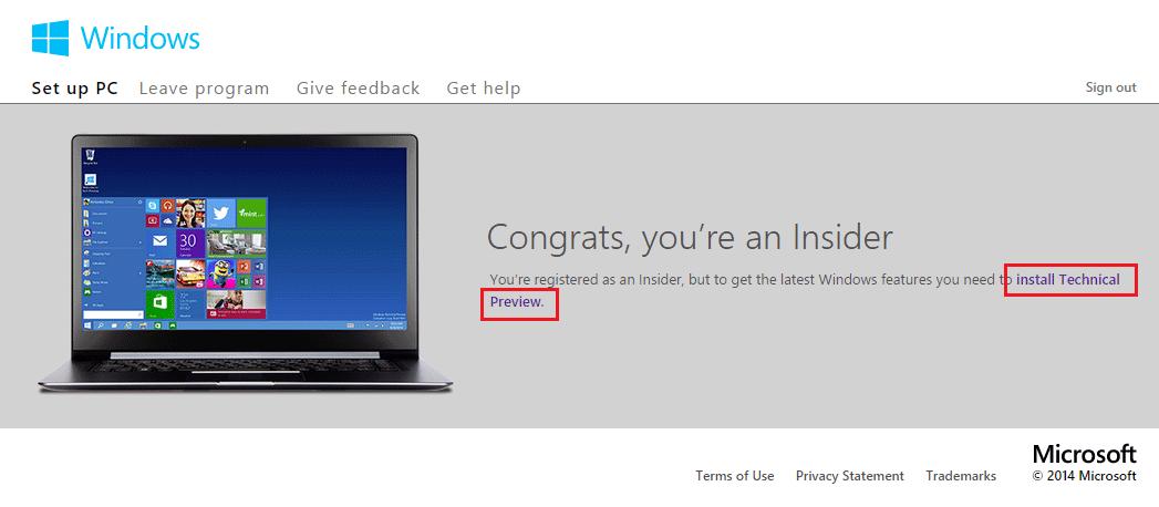 Windows 10 Preview Congrats