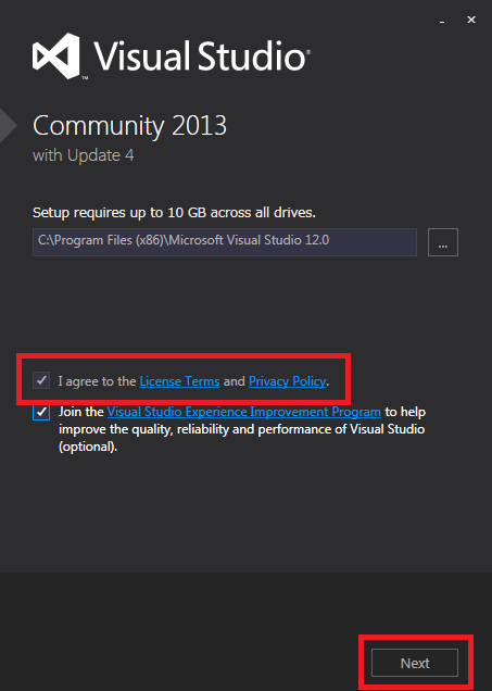 Visual Studio Community 2013 ライセンス同意