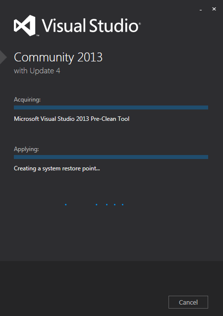 Visual Studio Community 2013 インストール開始