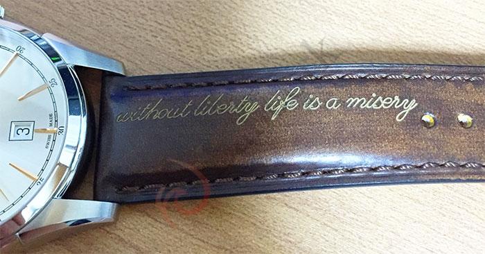 ハミルトン「SPIRIT OF LIBERTY AUTO」 革ベルトへの刻印
