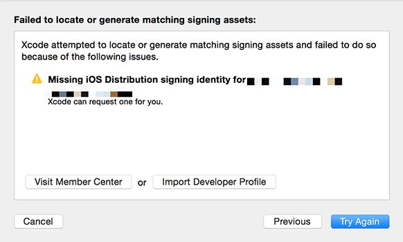 missing ios distribution signing identityエラー