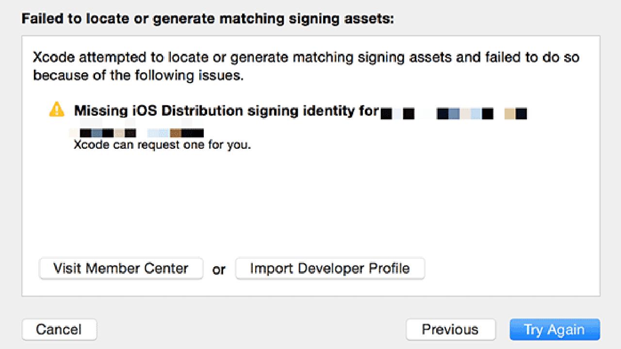 missing ios distribution signing identity