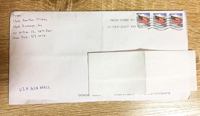 Stack Overflowから送られてきた封筒