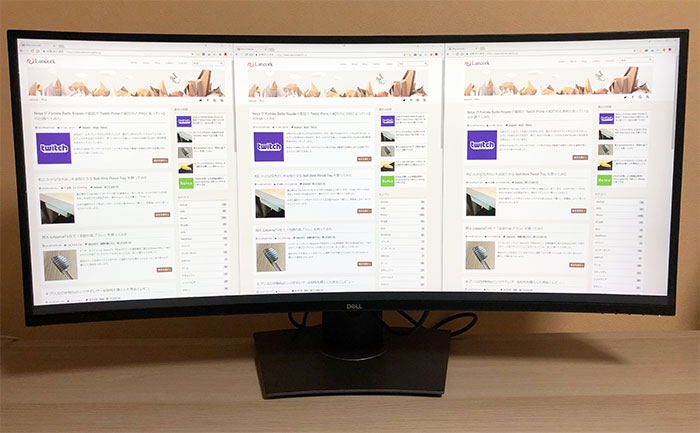 DELL U3818DW Chromeを3つ表示