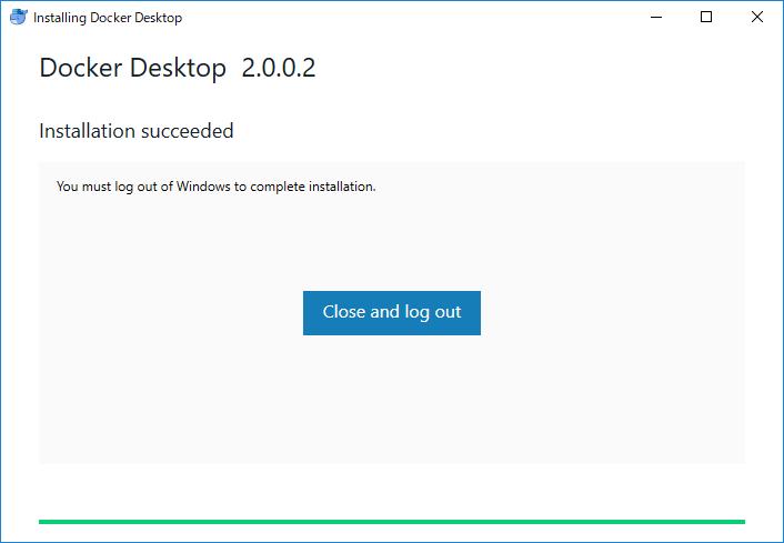 Docker Desktop (Windows) インストール完了のためログアウトが必要