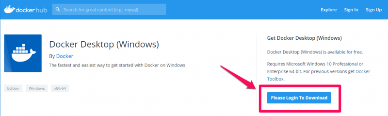 Docker Desktop (Windows) Docker Hubからダウンロード