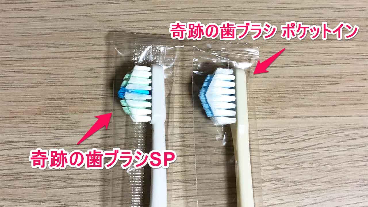 奇跡の歯ブラシポケットインと奇跡の歯ブラシSP ブラシ部分の違い