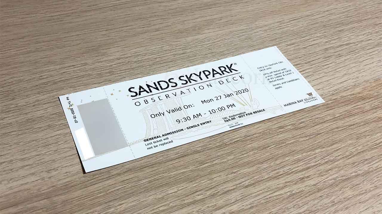 サンズ・スカイパークのチケット