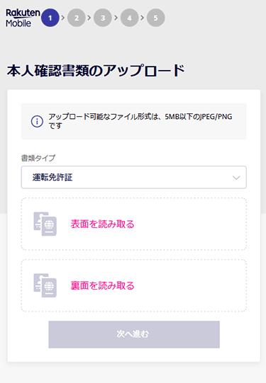 Rakuten UN-LIMIT 本人確認書類のアップロード