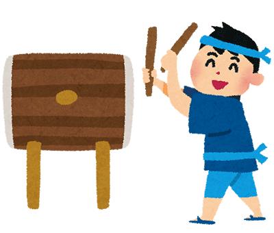 太鼓を叩いている男の子のイラスト